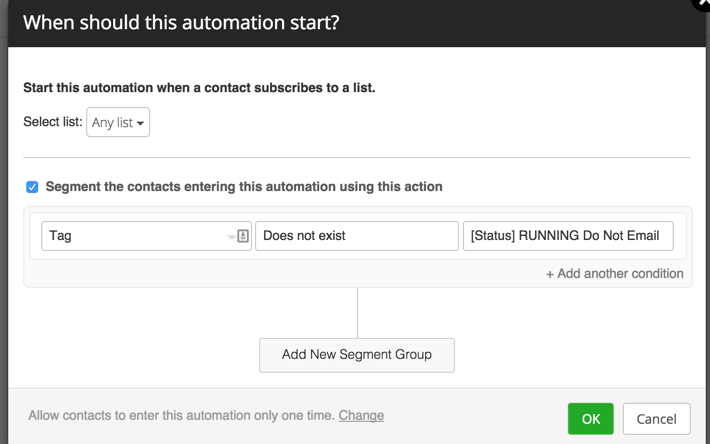 running tag start automation